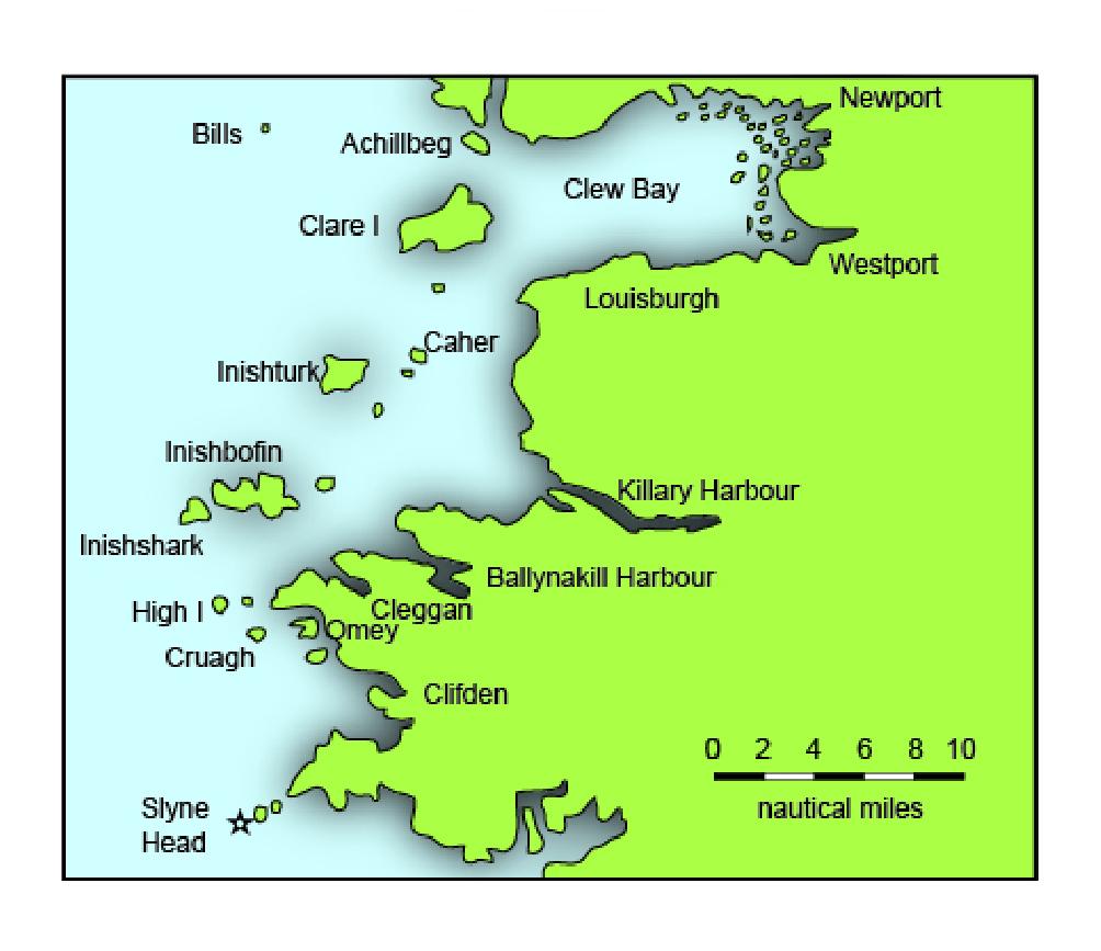 Islands Of Ireland Map.Irish Sailing Cruising Coastal Routes Galway To Clare Island